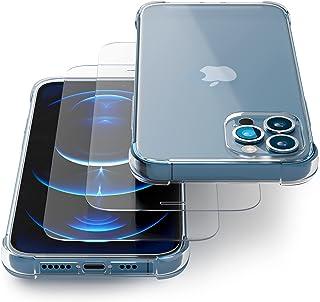 Transparente Coque pour IPhone 12/12 Pro avec Verre Trempé/Film Protection écran (2 Pack) – Etui Compatible avec Apple iPh...