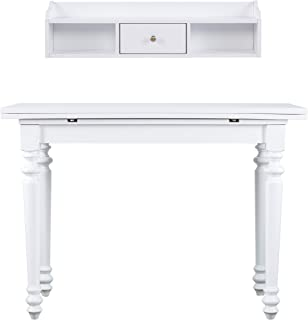 Furniture HotSpot – Drop Leaf Console Table w/Hutch – White - 44.25