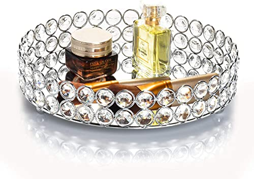 Feyarl Crystal Jewellery Tray Cosmetic Organizer Round Tray Mirrored Decorative Trays for Perfume Bottles (Silver)