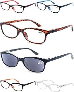 6 قطع نظارات قراءة 2.0 للنساء، إطار عين القطة المفصلات الربيع أنيقة للسيدات نظارات شمسية في الهواء الطلق القارئات للنساء، ...