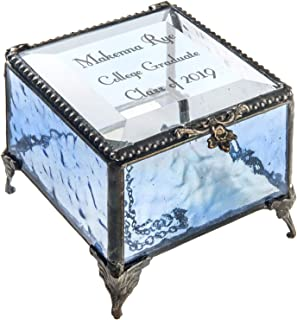 Personalized Graduation Gift for Her Glass Jewelry Box Engraved Keepsake High School Graduate Or College Grad Class of 2019 Daughter, Granddaughter, Girl, Friend J Devlin Box 837 EB217-3 (Blue)