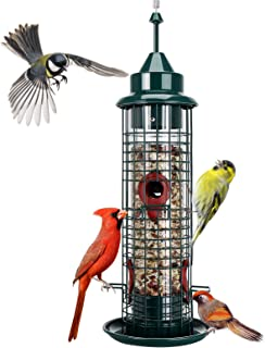 Hanging Wild Bird Feeder Tube Bird Feeders for Garden Yard Outside Decoration, 1.3-Pound Seed Capacity, Lighthouse Shaped