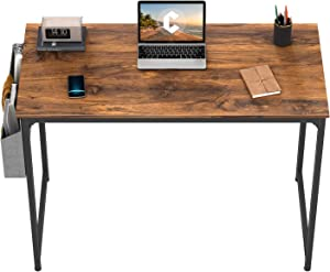 CubiCubi Study Computer Desk 32 inch Home Office Writing Small Desk, Modern Simple Style PC Table, Black Metal Frame, Grey