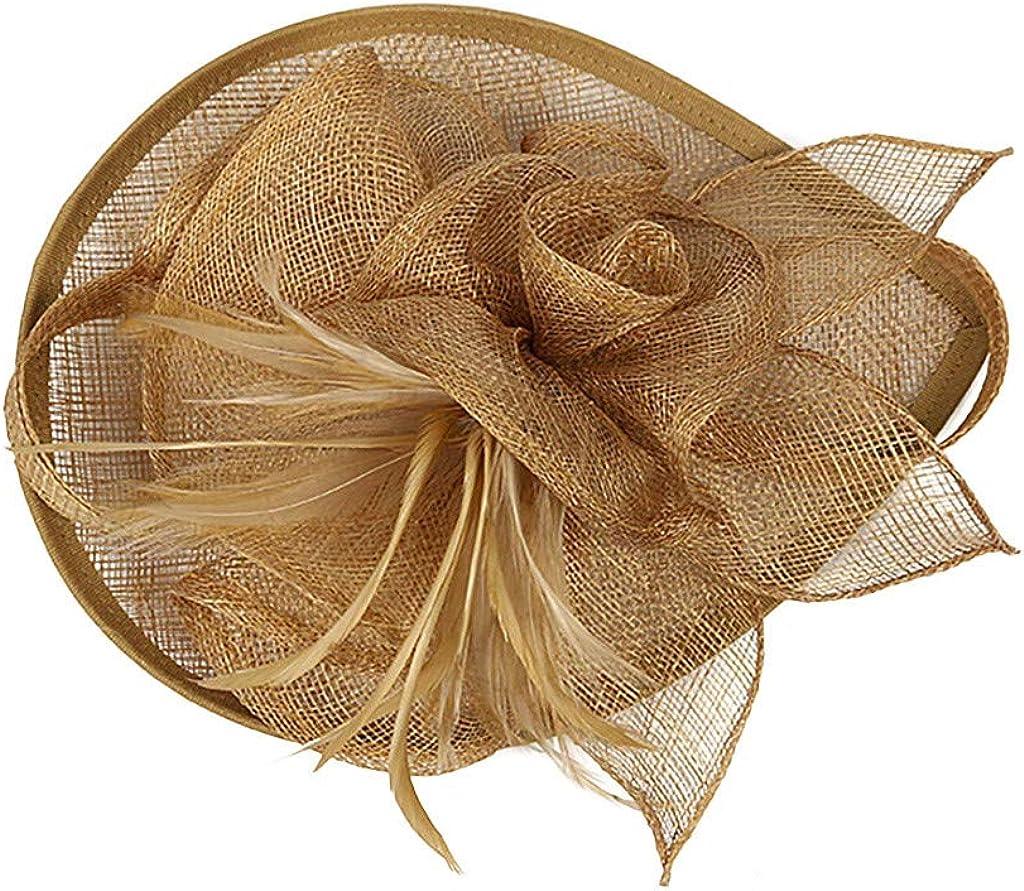 Feather Fascinators Womens Flower Derby Hat for Cocktail Ball Wedding Church Wedding Headpiece,Hair Decor Accessory