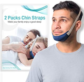 2PCS CPAP Chin Straps for Men and Women - Anti Snoring Solution, Chin Strap for CPAP Users - Effective Relieves Snoring De...