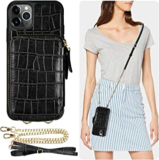 iPhone 11 Pro Wallet Case, ZVE iPhone 11 Pro Case with Card Holder Slot Crossbody Chain Purse Wrist Strap Zipper Crocodile Skin Leather Case Protective Cover for Apple iPhone 11 Pro 5.8 inch - Black