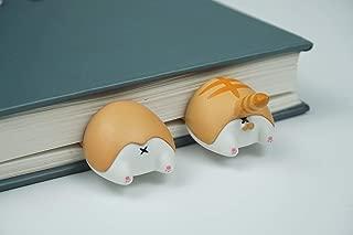 PVC Cute 3D Animal Butt Elasticity Bookmark 2pcs Cat/Corgi/Fox/Hamster for Gift (Cat/Corgi)