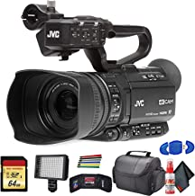 JVC GY-HM180 Ultra HD 4K Camcorder with HD-SDI (GY-HM180U) with Padded Case, LED Light, 64GB Memory Card and More Base Bundle
