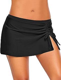 4fcf4af05c Utyful Women's Elastic Mid Waist Side Slit Pull Tie Swim Skirt Swimsuit  Bottom