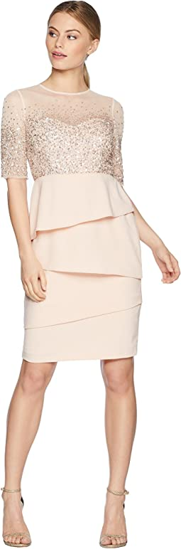 Petite 3/4 Sleeve Bead Bodice Cocktail Dress with Artichoke Crepe Skirt
