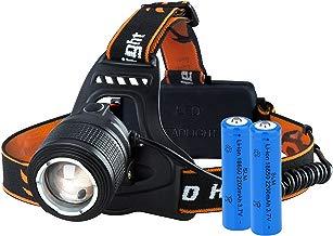 VicTsing Linterna Frontal Recargable LED Alta Potencia 3000 Lúmenes, 4 Modos, Automomía hasta 16H, Alcance de 300M, Función de Zoom, Impermeable IPX6 para Casco, Pesca, Bicicleta, Camping y Caza