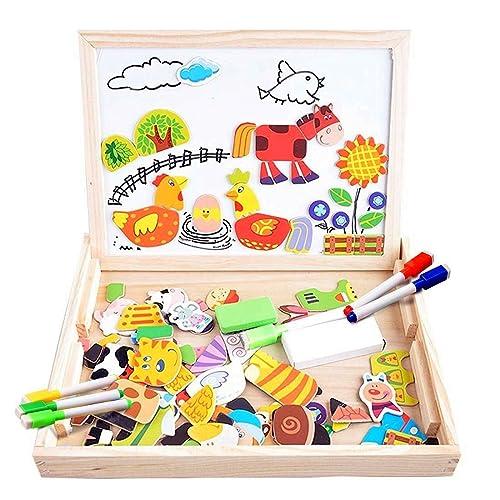160f48ba5bd9 COOLJOY Puzzles Rompecabezas Magnéticos de Madera Juguete Educativo Tablero  de Dibujo de Doble Cara para Niños