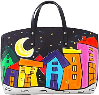 Borsa in pelle dipinta a mano – CARTOON CITY NIGHT - Borse Donna, Borse a Mano, Vera Pelle, Made in Italy, in Pelle Dipint...