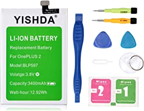OnePlus Two Battery, YISHDA 3400mAh BLP597 Replacement Battery for Oneplus 2 with Installation Tools | One Plus Two Battery Kit [18 Month Warranty]