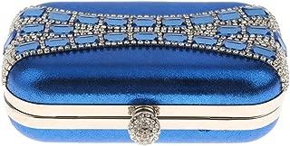 Prettyia Wedding Diamante Clutch Bag Bridal Multi-purpose Purse Handbag Royal Blue