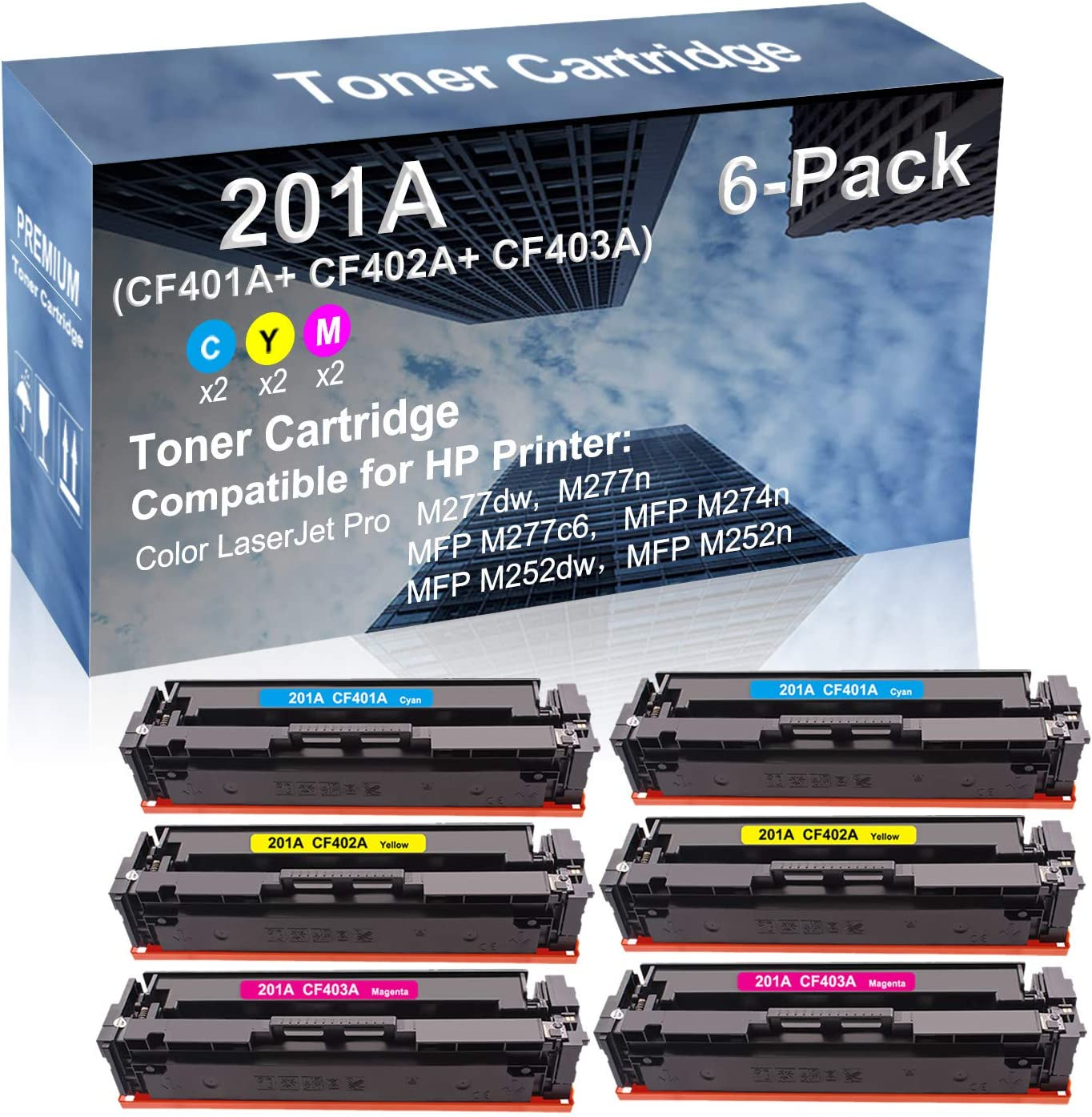 6-Pack (2C+2Y+2M) Compatible High Yield 201A (CF401A+ CF402A+ CF403A) Laser Printer Toner Cartridge use for HP MFP M252dw, MFP M252n Printer