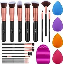 Syntus Makeup Brush Set, 16 Makeup Brushes & 4 Blender Sponge & 1 Brush Cleaner Premium Synthetic Foundation Powder Kabuki Blush Concealer Eye Shadow Makeup Brush Kit, Rose Golden