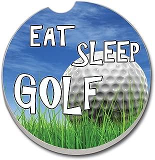 CounterArt Absorbent Stoneware Car Coaster, Eat, Sleep, Golf