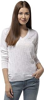 Jump USA Women V-Neck Self Design Pullover
