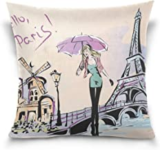 """MASSIKOA Fashion Girl Rainy Day Paris Decorative Throw Pillow Case Square Cushion Cover 16"""" x 16"""" for Couch, Bed, Sofa or ..."""