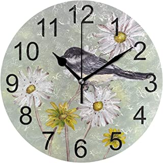 Naanle Spring Bird Round Wall Clock Daisy Silent Non Ticking Wall Clocks Battery Operated for Home Office School Decor