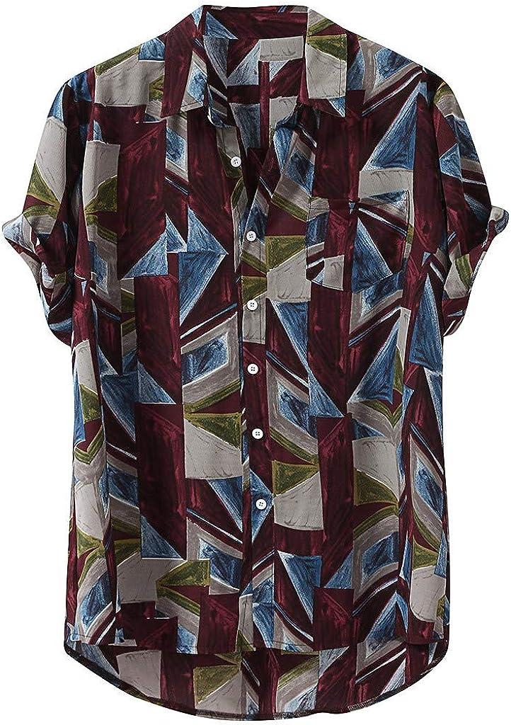 Men Button Down Shirt Short Sleeve Casual Loose Print Hawaiian High Low Hem Beach Top Shirts