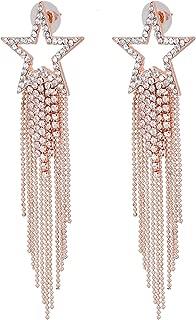 Women's Tassel Earrings Star Ear Stud Pave Crystal Dangle Earrings Boho Waterfall Beaded Fringe Drop Earring