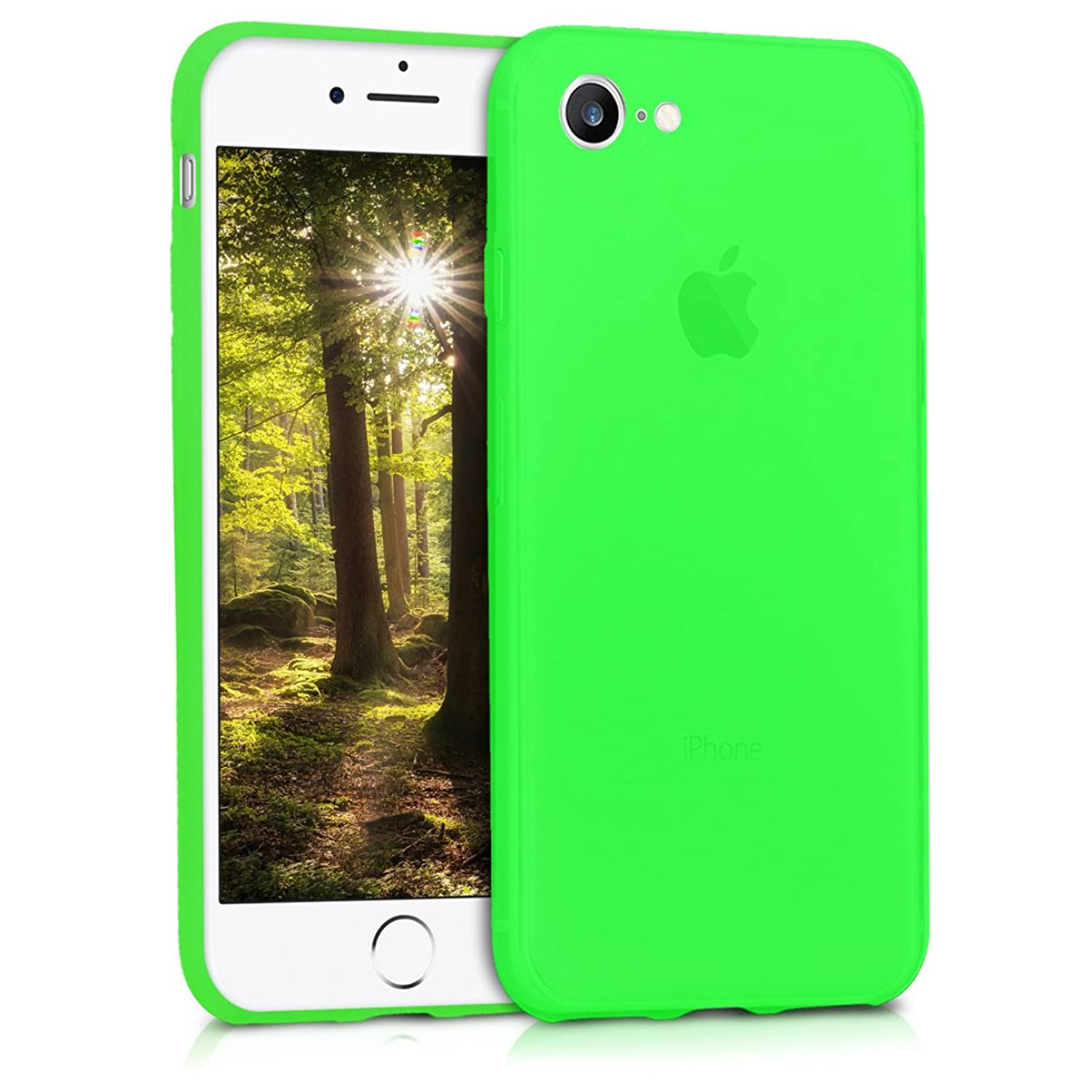 kwmobile TPU Silicone Case for Apple iPhone 7/8 - Soft Flexible Shock Absorbent Protective Phone Cover - Neon Green