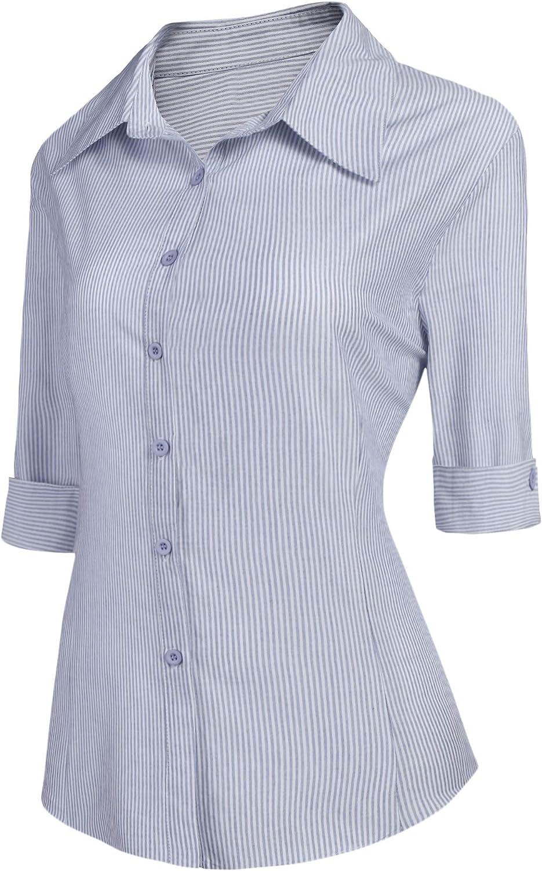 BeautyUU Blusa para mujer, camisa entallada, manga 3/4, camisa de trabajo, básica, camisa de negocios