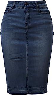 A2Y Women's Slim Fit Rayon Knee Length Unhem Back Slit Denim Jean Pencil Skirt