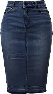 Women's Slim Fit Rayon Knee Length Unhem Back Slit Denim Jean Pencil Skirt