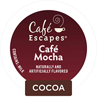 Cafe Escapes, Cafe Mocha Coffee Beverage, Single-Serve Keurig K-Cup Pods, 72 Count (3 Boxes of 24 Pods)