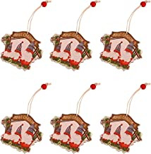 6 peças de decoração de árvore de Natal de madeira enfeites de madeira casa de aldeia natal papai noel decoração pendurada...
