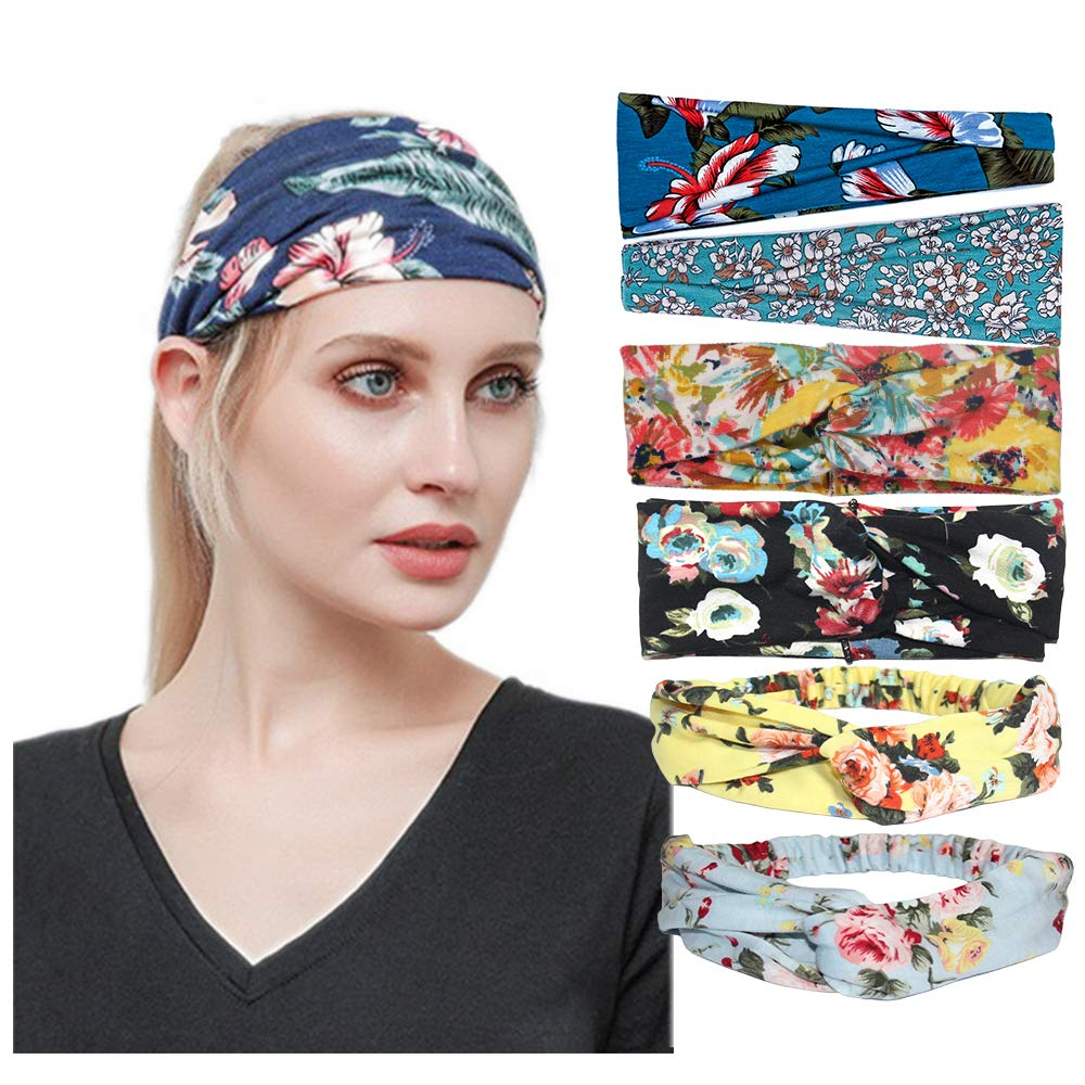 CCStyle Headbands for Women Knotted Boho Floal Style Turban Headband Women's Yoga Running Sports Workout Vintage Hair Bands (Set3)