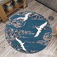 Chinese Crane Pattern Shape Non-Slip Backing Machine Washable Round Area Rug Foam Mat Living Room Bedroom Study Children Playroom Super Soft Carpet Floor Mat Home Decor 3.2-Feet Diameter