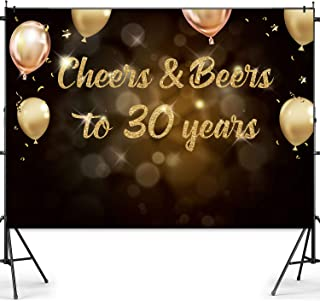 Joymee 30th Birthday Backdrop Cheers and Beers to 30 Years Photography Background for Men Women 30th Birthday Wedding Anniversary Party Supplies Black Gold Glitter Sparkling Decorations 7 * 5ft