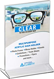 Amazing Clarity 5x7 Inches Acrylic Sign Holder / Table Top Menu Display Stand, Pack of 6