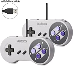 2X SNES Classic USB Controller Gamepad, kiwitatá Retro SNES USB Super PC Wired Gamepad Controller Joystick for Windows PC Mac Raspberry Pi