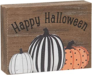 Collins Painting Mini Fall-Themed Wood Grain Block Sign (Happy Halloween)