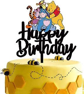 Black Acrylic Winnie the Pooh Happy Birthday Cake Topper Disney Cartoon Winnie the Pooh Theme Birthday Party Suppliers Win...