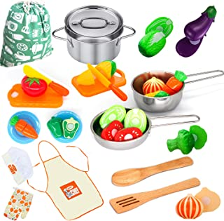 Kitchen Playset Accessories Toys - Stainless Steel Cookware Pots and Pans Set, Cooking Utensils, Apron, Chef Hat, and Cutting Play Food for Kids, Toddler and Boys Girls Educational Learning Tool