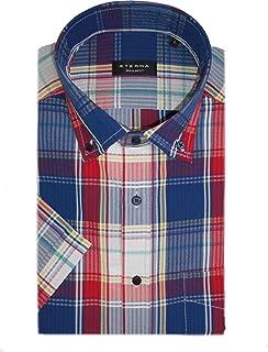 eterna 2484/54 WS8B Regular Fit Casual Short Sleeve Seersucker Shirt Blue/Red Check