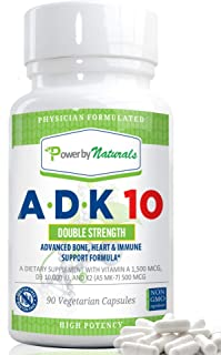 PbyN - ADK 10 Vitamin - Dr Formulated, Double Strength A D K 10000 iu - High Potency Vitamins A, D3 (10,000 iu), K2 (as MK-7) - Supplement for Bone, Heart, Immune Support, 90 Pills 3 Months, No Soy