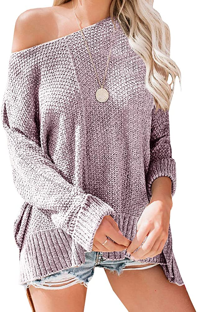 Ybenlow Womens Off Shoulder Sweater Batwing Sleeve Loose Slit Oversized Pullover Knit Jumper Slouchy Tunic Tops