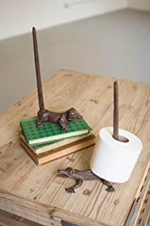Cast Iron Dachshund Paper Towel Holder-rustic, 6.25 X 12 in