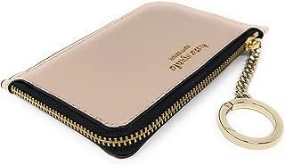 Medium L-Zip Card Holder Keychain Warm Beige Black