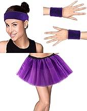 Women 80s Costume Accessories Sweatband Headband Wristband Tutu Skirt Set for Sports Running Daily