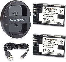 Newmowa LP-E6 Batería de repuesto (2-Pack) y Kit de Cargador Doble para Micro USB portátil para Canon LP-E6, LP-E6N and Canon EOS 5DS R, EOS 5DS, EOS 5D Mark III, EOS 5D Mark II, EOS 6D, EOS 7D, EOS 7D Mark II