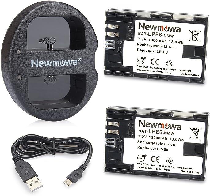 Newmowa LP-E6 Batería de repuesto (2-Pack) y Kit de Cargador Doble para Micro USB portátil para Canon LP-E6 LP-E6N and Canon EOS 5DS R EOS 5DS EOS 5D Mark III EOS 5D Mark II EOS 6D EOS 7D EOS 7D Mark II