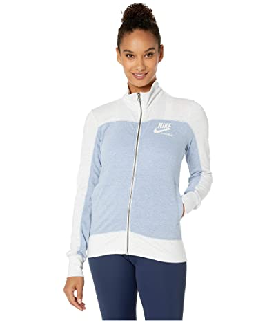 Nike Sportswear Gym Vintage Top Long Sleeve Full Zip Graphic (Birch Heather/Indigo Fog/Indigo Fog/Sail) Women